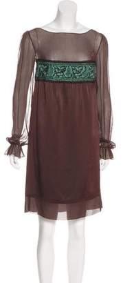 Philosophy di Alberta Ferretti Sheer-Accented Knee-Length Dress