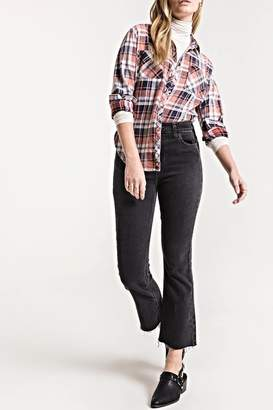 White Crow Plaid Button-Up Top