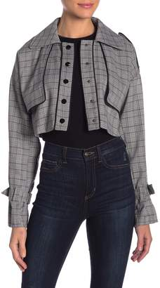 OnTwelfth Plaid Cropped Trench Jacket