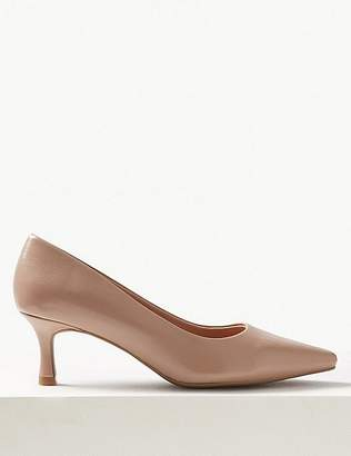 Marks and Spencer Wide Fit Kitten Heel Square Toe Court Shoes