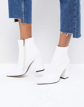 Public Desire Empire White Block Heeled Ankle Boots