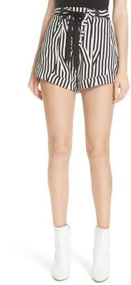 Self-Portrait Abstract Stripe Lace-Up Shorts