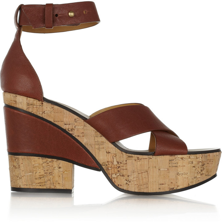 Chloé Leather and cork platform sandals