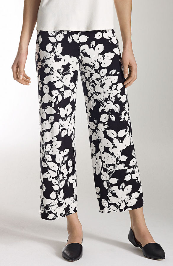 J. Jill Wearever print full-leg cropped pants