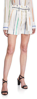 Derek Lam 10 Crosby Belted High-Rise Striped Shorts