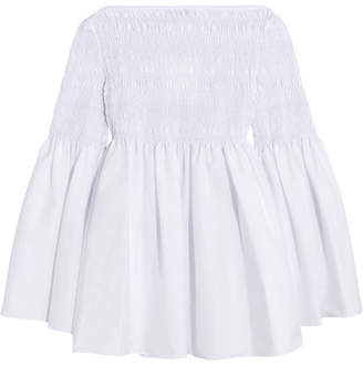 Burton Smocked Cotton-blend Poplin Top - White