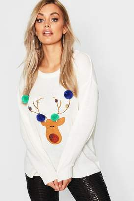 boohoo Plus Reindeer Pom Pom Sequin Christmas Jumper