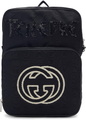 Gucci Black Medium Tenebre Logo Patch Backpack