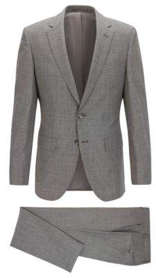 BOSS Hugo Wool-Silk Suit, Slim Fit T-Harver/Glover 48R Grey