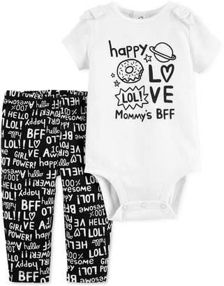 Carter's Baby Girls 2-Pc. Mommy's BFF Cotton Bodysuit & Pants Set