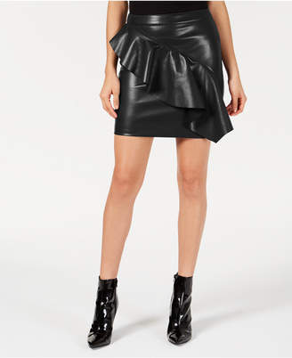 GUESS Lexie Ruffled Faux-Leather Skirt