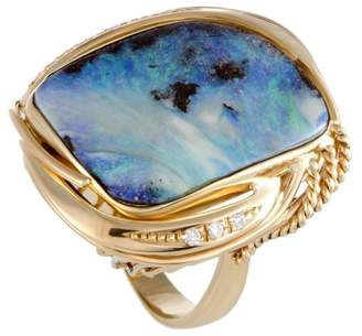 18K Yellow Gold with 0.10ct. Diamond and Opal Cocktail Ring Size 7.0