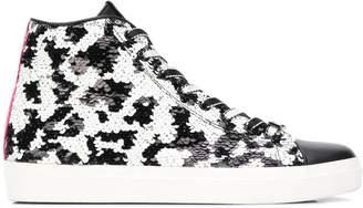 Leather Crown sequin hi-top sneakers