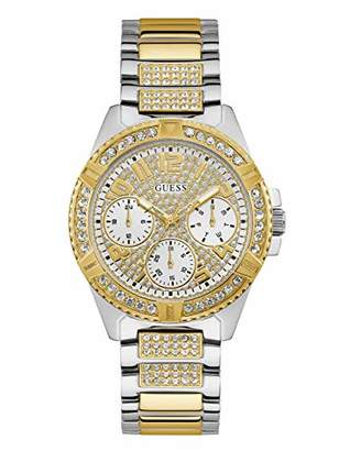 GUESS Stainless Steel + Gold-Tone Crystal Watch with Day