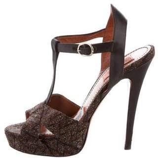 Missoni Chevron Leather-Trimmed Sandals