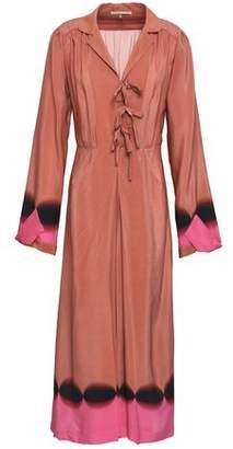 Marco De Vincenzo Bow-Detailed Printed Silk Crepe De Chine Midi Dress