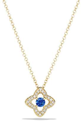 David Yurman Venetian Quatrefoil Necklace with Blue Sapphire and Diamonds in 18K Gold