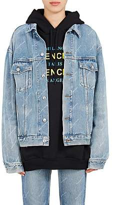 Balenciaga Women's Logo Denim Jacket - Blue