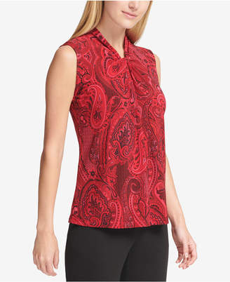 Tommy Hilfiger Paisley Printed Knot-Neck Sleeveless Blouse