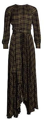 Proenza Schouler Women's Belted Plissé Chiffon Plaid Maxi Dress