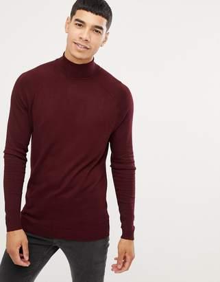Bershka turtleneck sweater in burgundy