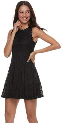800bcce5689 ... Juniors  Lily Rose Scallop Trim Lace Skater Dress