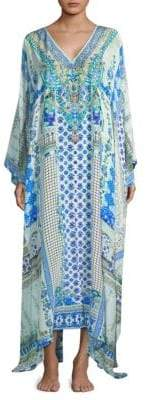 Camilla Split Front and Sleeve Silk Oversized Caftan