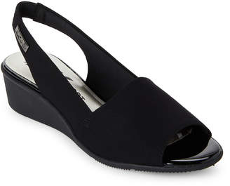 Anne Klein Black Jaye Slingback Wedge Sandals
