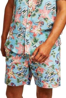 Topman Slim Fit Orchid Print Shorts