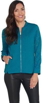 Isaac Mizrahi Live! Jacquard Knit Bomber Jacket w/ Lace Sleeves