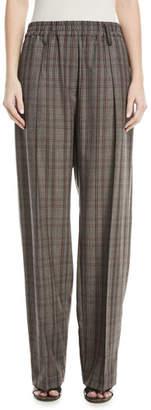 Brunello Cucinelli Elasticized-Waist Plaid Wool Pull-On Pants w/ Monili Belt Loop