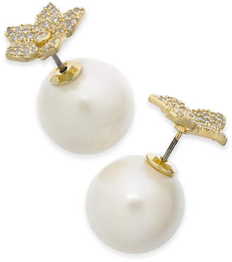 Kate Spade Gold-Tone Pave Bloom & Imitation Pearl Front-and-Back Earrings