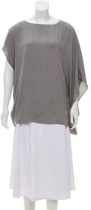 Helmut Lang Silk Asymmetrical-Sleeve Top
