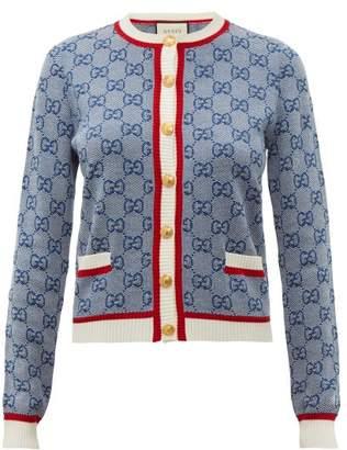 Gucci Gg Logo Jacquard Wool Blend Cardigan - Womens - Blue Multi