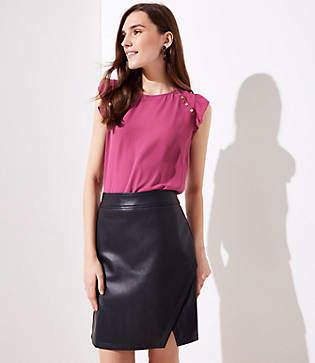 LOFT Petite Faux Leather Wrap Skirt