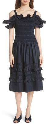 Rebecca Taylor Cold Shoulder Smocked Cotton Dress