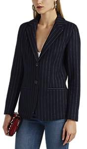 Giorgio Armani Women's Pinstriped Cashmere Two-Button Blazer - Navy