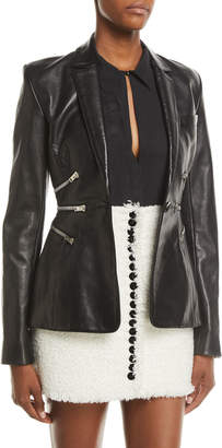 Alexander Wang Zipper Waist One-Button Lamb Leather Jacket