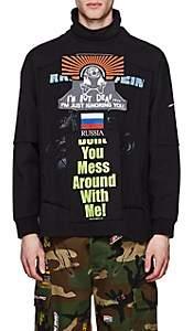 Vetements Men's Patchwork Cotton Oversized Turtleneck Sweatshirt - Black