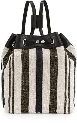 Kelsi Dagger Dusen Striped Canvas Drawstring Backpack, Black/Multi $140 thestylecure.com