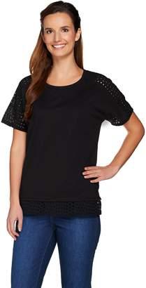 C. Wonder Knit Top with Novelty Eyelet Short Sleeves & Hem Detail