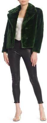 Frame Overlap Pull-On Lamb Leather Leggings
