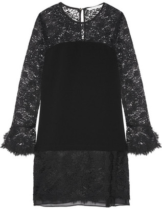 Diane von Furstenberg - Lavana Silk Chiffon-trimmed Lace And Crepe Mini Dress - Black $500 thestylecure.com