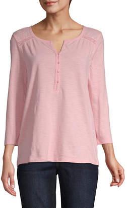 ST. JOHN'S BAY Womens Round Neck Long Sleeve Henley Shirt
