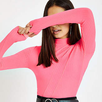 River Island Bright pink ribbed high neck top