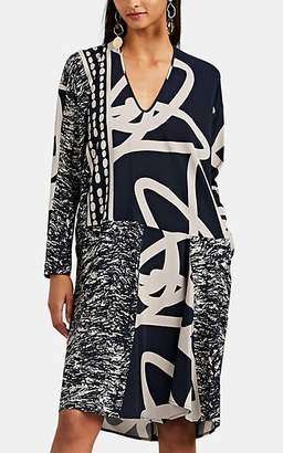 Zero Maria Cornejo Women's Tero Mixed-Print Silk Shift Dress - Ink Jet, greige