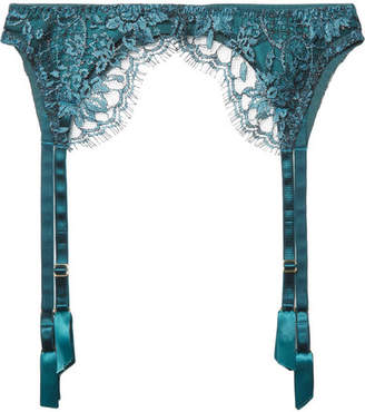 Coco de Mer - Peridot Embroidered Tulle And Silk-blend Satin Suspender Belt - Teal