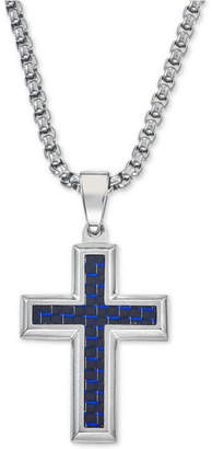 Esquire Men's Jewelry Pendant Necklace in Navy Blue Carbon Fiber Cross, Tungsten Carbide and Stainless Steel