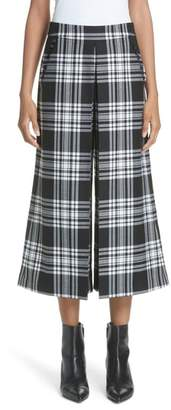 Alexander Wang Pleat Front Wool Wide Leg Crop Pants