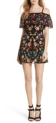 Alice + Olivia Francina Embroidered Off the Shoulder Minidress